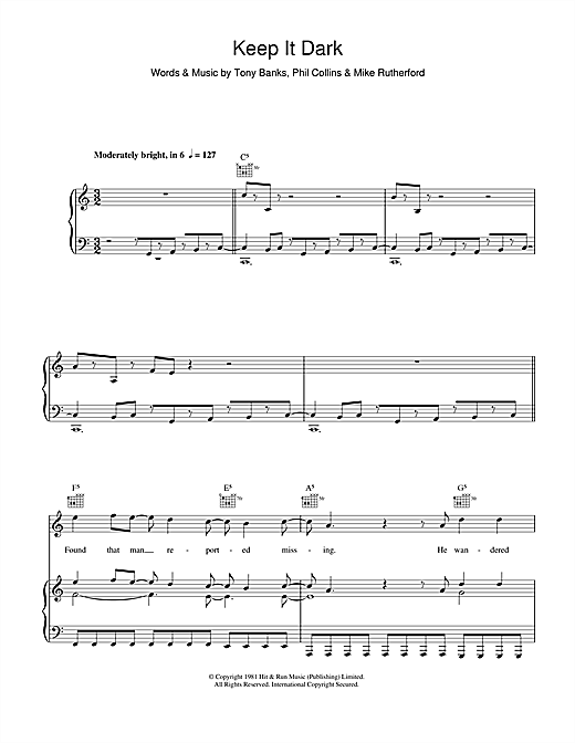 Keep It Dark (Piano, Vocal & Guitar (Right-Hand Melody))