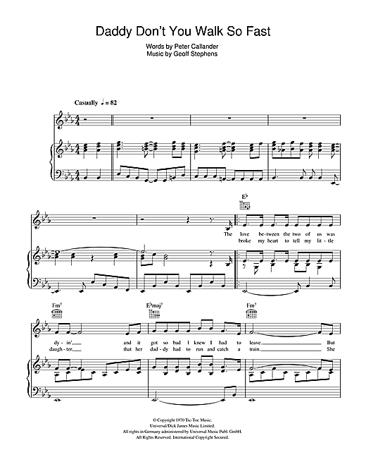 Daddy Don't You Walk So Fast Sheet Music