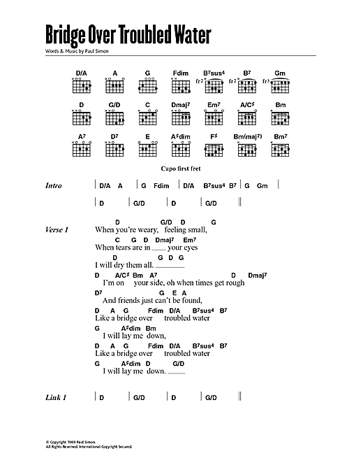 Bridge Over Troubled Water (Guitar Chords/Lyrics)