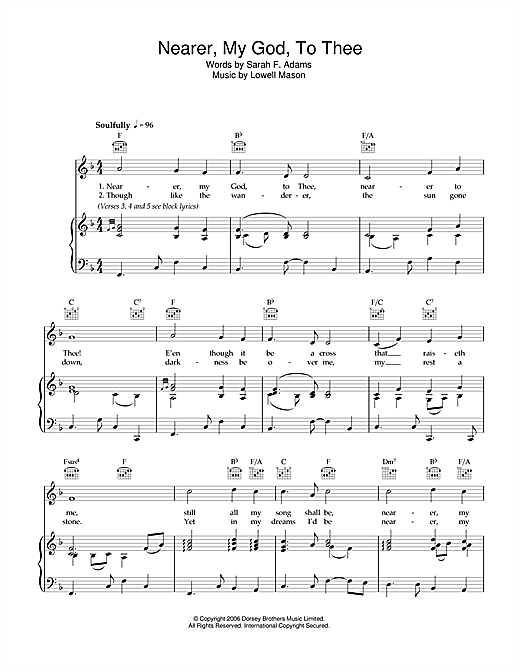 Partition piano Nearer My God To Thee de Lowell Mason - Piano Voix Guitare (Mélodie Main Droite)