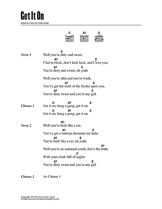 Get It On (Bang A Gong) Sheet Music