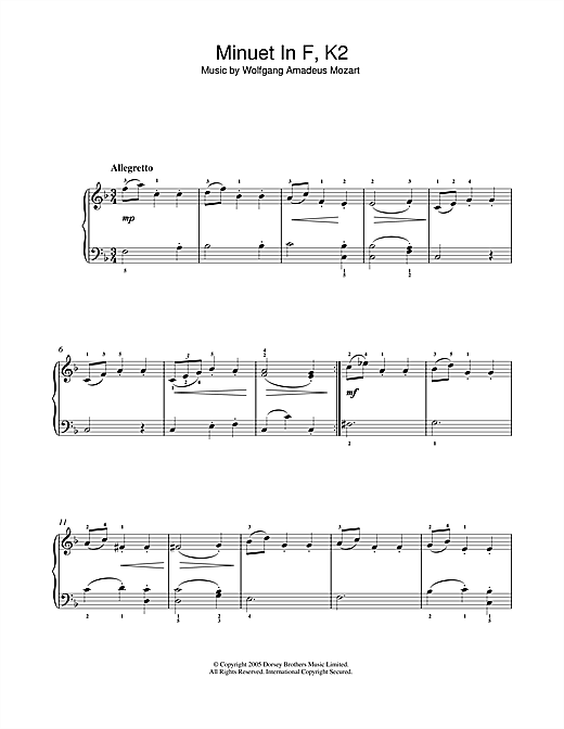 Minuet in F, K2 Sheet Music