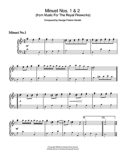 Minuet Nos.1 & 2 (from Music For The Royal Fireworks) Sheet Music