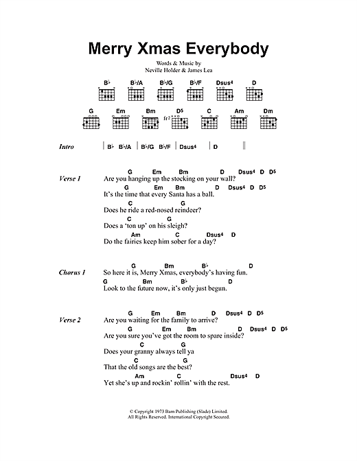 Guitar guitar tabs xmas : Merry Xmas Everybody sheet music by Slade (Lyrics & Chords – 47915)