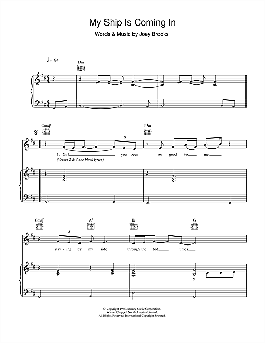 My Ship Is Coming In Sheet Music
