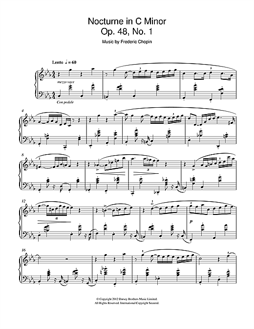 Partition piano Nocturne In C Minor Op.48, No.1 de Frederic Chopin - Piano Solo