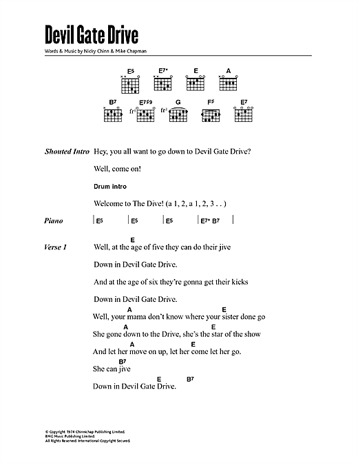 Devil Gate Drive sheet music by Suzi Quatro (Lyrics & Chords – 47935)