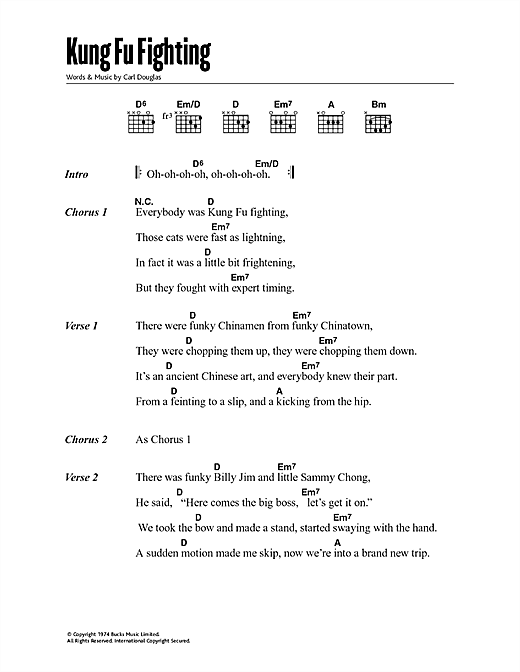 Kung Fu Fighting Sheet Music