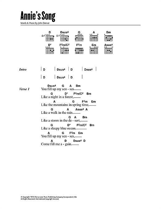 Annies Song Guitar Chords