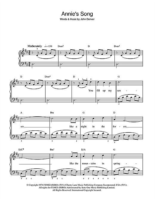 Annie's Song (Beginner Piano)