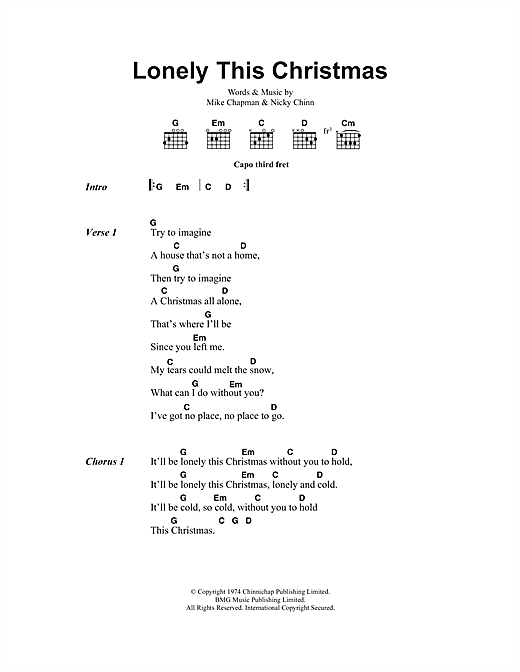 Lonely This Christmas Sheet Music