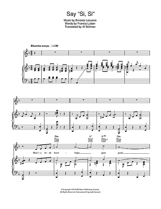 "Say ""Si, Si"" Sheet Music"