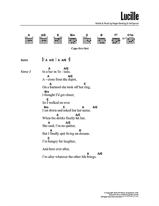 Lucille (Guitar Chords/Lyrics)