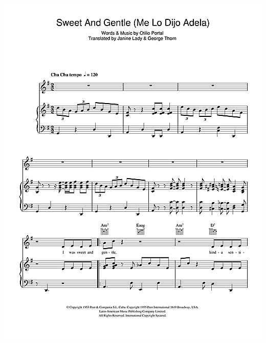 Sweet and Gentle (Me Lo Dijo Adela) Sheet Music