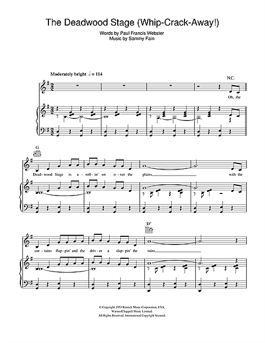 The Deadwood Stage (Whip-Crack-Away) Sheet Music