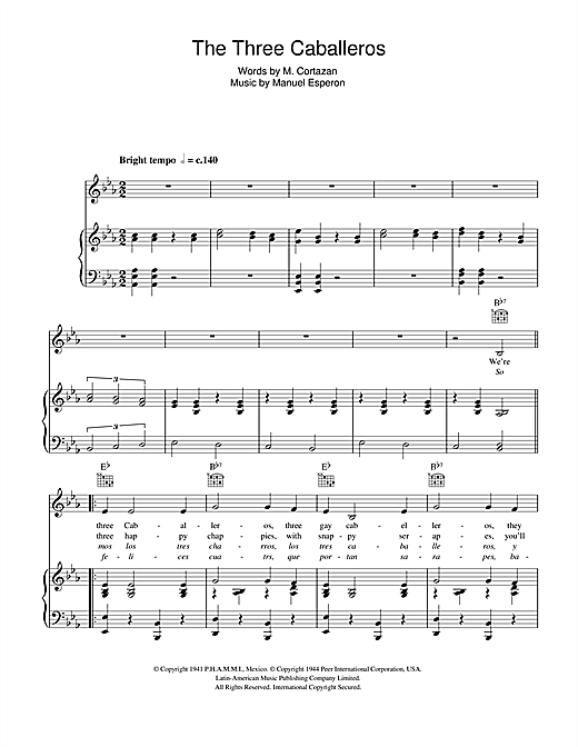 The Three Caballeros Sheet Music