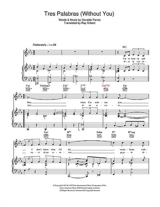 Tres Palabras (Without You) Sheet Music