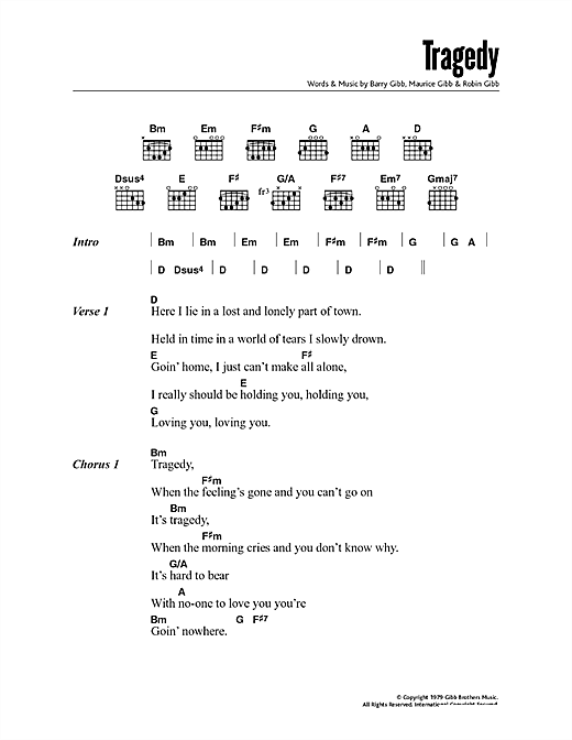Tragedy (Guitar Chords/Lyrics)