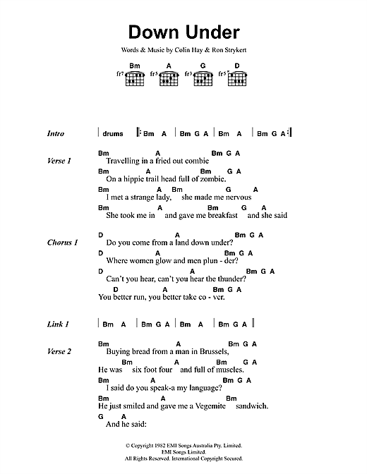 Down Under (Guitar Chords/Lyrics)