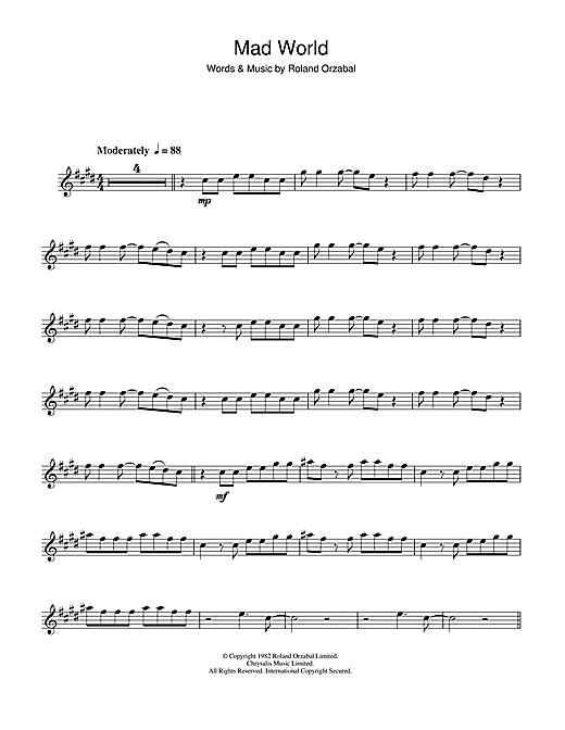 Mad World Sheet Music