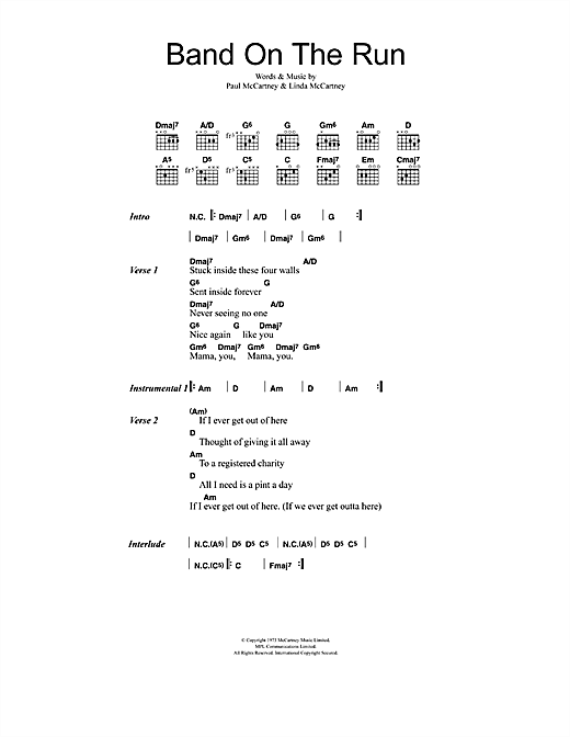 Band On The Run (Guitar Chords/Lyrics)