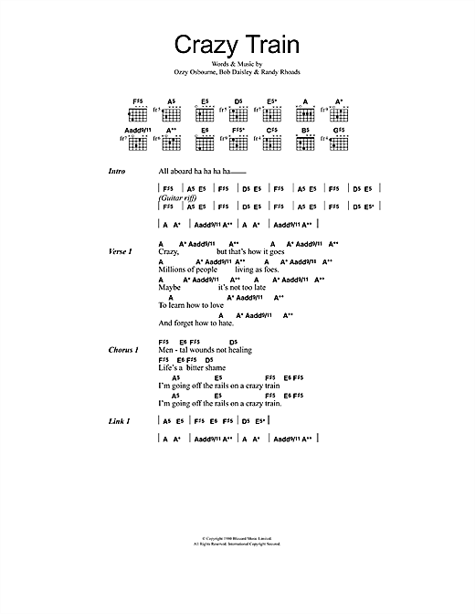Crazy Train sheet music by Ozzy Osbourne (Lyrics u0026 Chords u2013 48097)