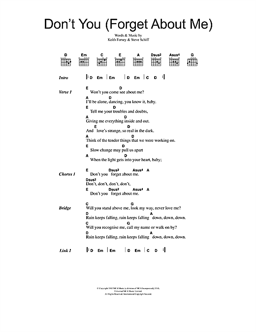 Don't You (Forget About Me) (Guitar Chords/Lyrics)