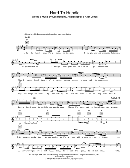 Hard To Handle (Lead Sheet / Fake Book)