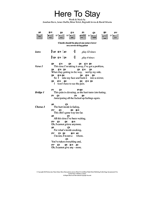 Here To Stay Sheet Music By Korn Lyrics Chords 48112