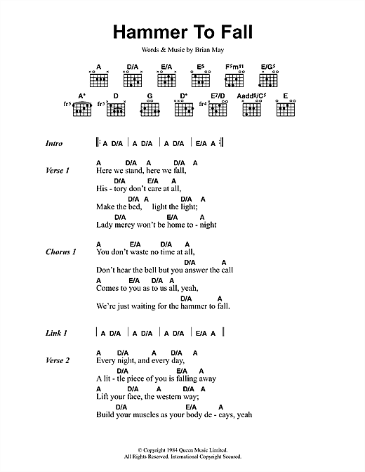 Hammer To Fall (Guitar Chords/Lyrics)