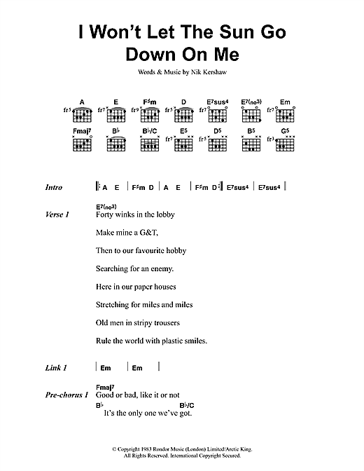 I Won't Let The Sun Go Down On Me Sheet Music