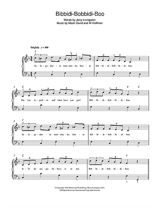 Bibbidi-Bobbidi-Boo (The Magic Song) (from Cinderella) Sheet Music