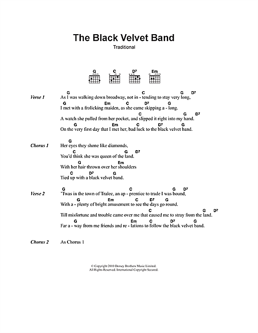 The Black Velvet Band sheet music by Irish Folksong (Lyrics & Chords ...