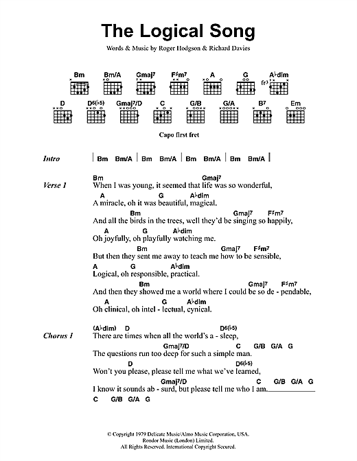 The Logical Song (Guitar Chords/Lyrics)