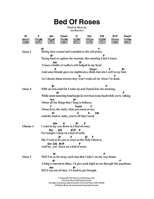 bed of roses sheet music by bon jovi lyrics chords 48209