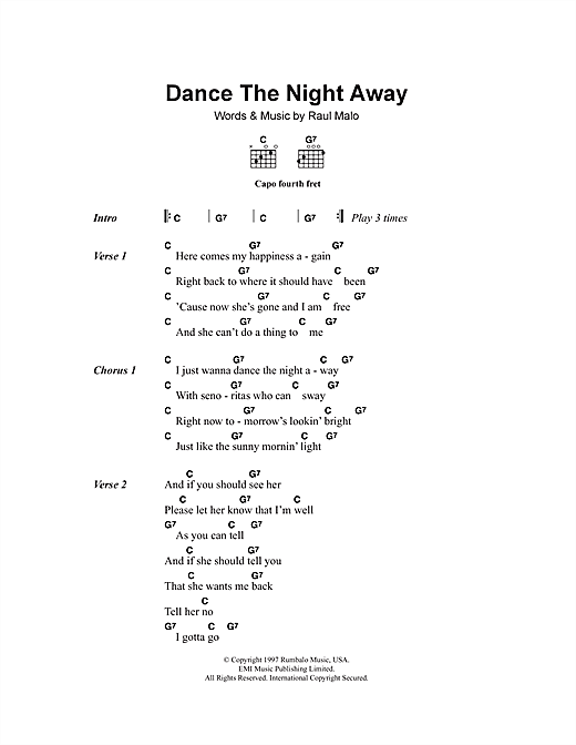 Dance The Night Away Sheet Music