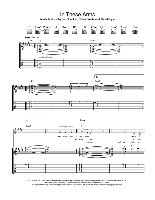 Tablature guitare In These Arms de Bon Jovi - Tablature Guitare