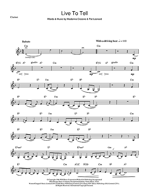 Live To Tell Sheet Music