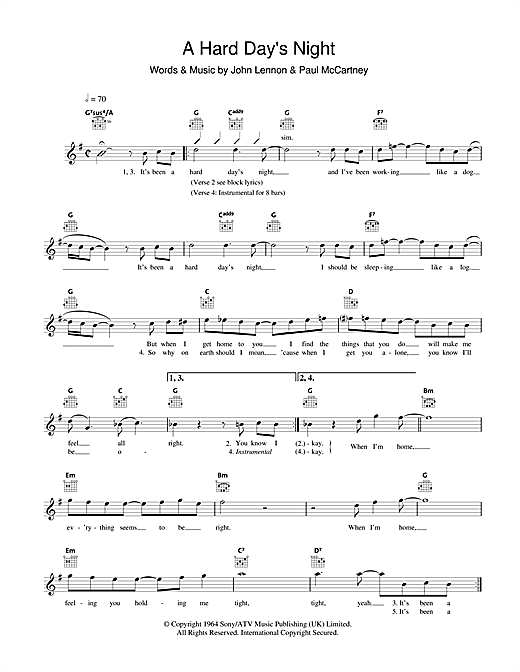 A Hard Day's Night Sheet Music