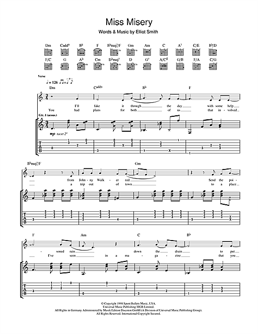 Tablature guitare Miss Misery de Elliott Smith - Tablature Guitare