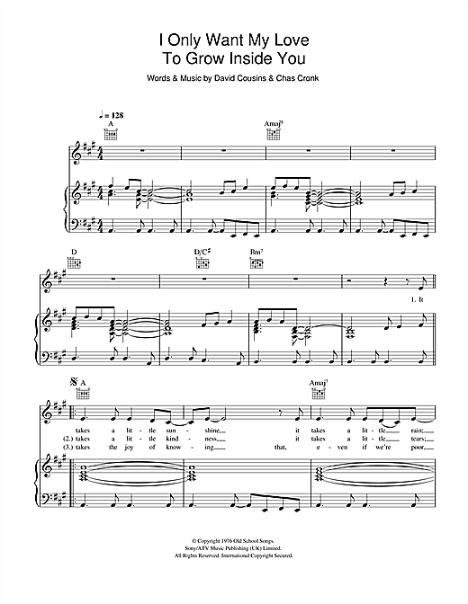 I Only Want My Love To Grow In You Sheet Music