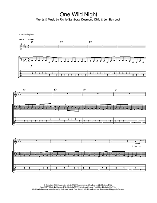 Tablature guitare One Wild Night de Bon Jovi - Tablature Basse