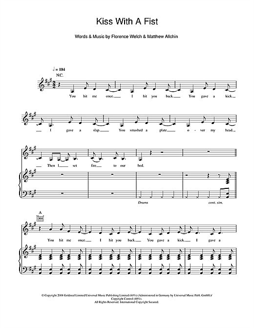 Kiss With A Fist Sheet Music