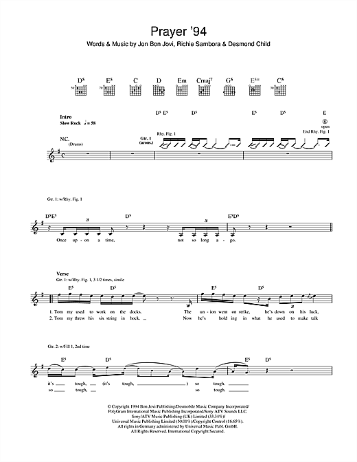 Tablature guitare Prayer '94 de Bon Jovi - Tablature Guitare
