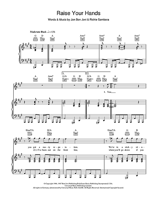 Raise Your Hands (Piano, Vocal & Guitar (Right-Hand Melody))
