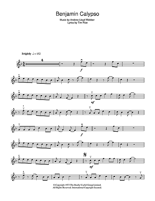 Benjamin Calypso (from Joseph And The Amazing Technicolor Dreamcoat) Sheet Music