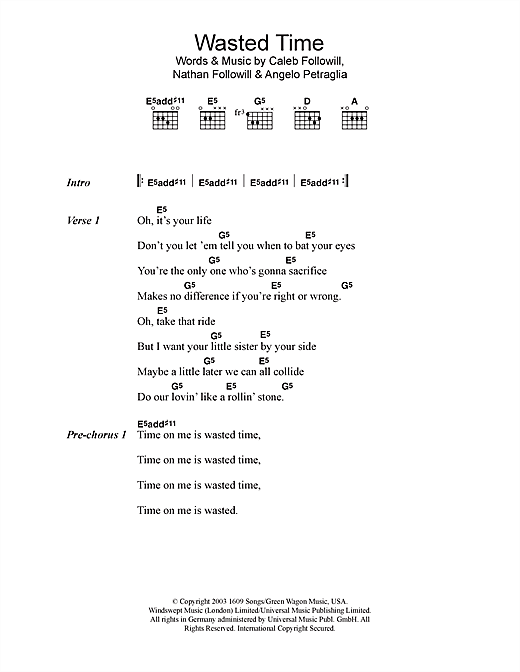 Wasted Time Sheet Music By Kings Of Leon Lyrics Chords 48367
