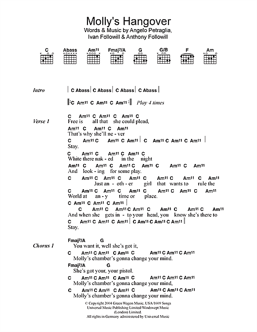 Molly's Hangover (Guitar Chords/Lyrics)