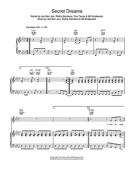 Secret Dreams Sheet Music