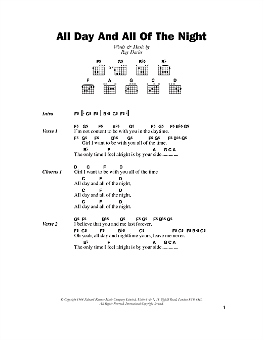 All Day And All Of The Night Sheet Music By The Kinks Lyrics